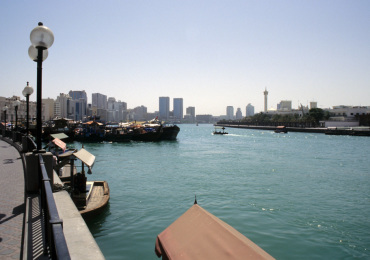 DXB Dubai creek - creek panorama from Deira with dhows and abra boats 02 5340x3400